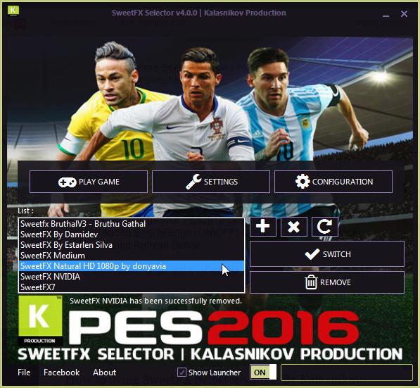 دانلود سلکتور تغییر گرافیک PES 2016 SweetFX Selector v4.0.0