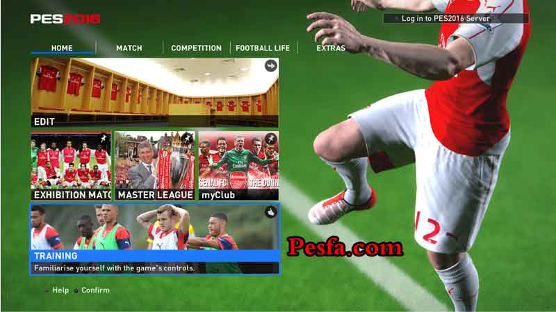 منو گرافیکی آرسنال PES 2016 Arsenal Graphic Menu