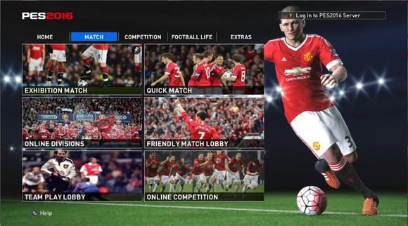 منو گرافیکی HD  تیم منچستر برای PES2016