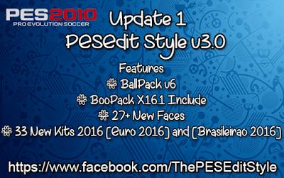 آپدیت ورژن 1 Patch PESEdit Style v3.0 برای PES 2010