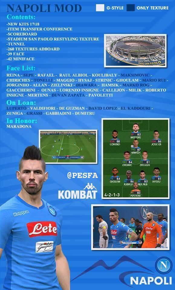مود کامل تیم Napoli توسط G-style برای PES 2017