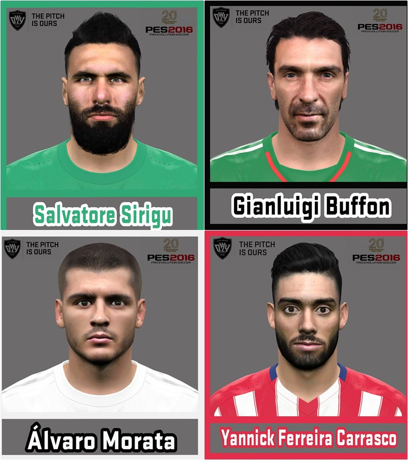 PES 2016 FACE Sirigu, Buffon, Morata and Carrasco