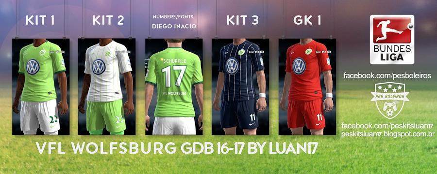 کیت پک 16/2017 تیم Wolfsburg برای PES 2013