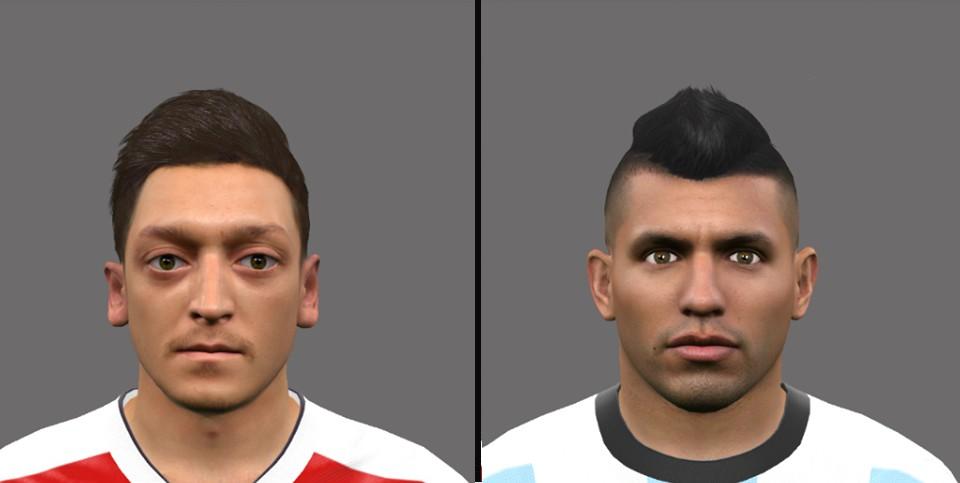 دانلود فیس های بازیکنان Özil and Agüero برای Pes 2016