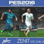 کیت پک تیم Zenit Saint Petersburg فصل 2016/17 برای Pes 2016