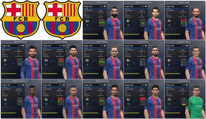 فیس پک بارسلونا v1.0 برای PES 2017