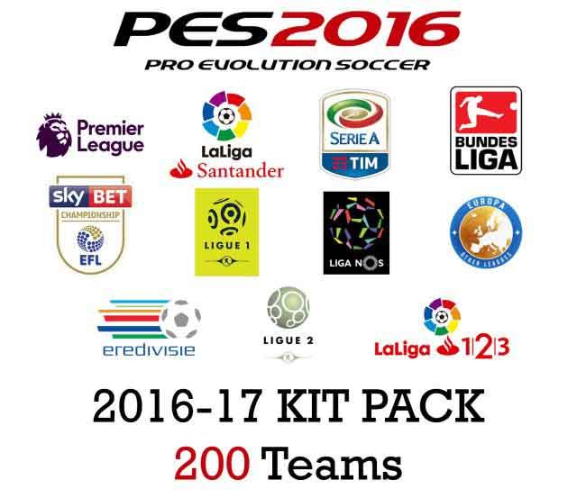 کیت پک 2017 (شامل 200 تیم )برای pes 2016 (درخواستی کاربران)