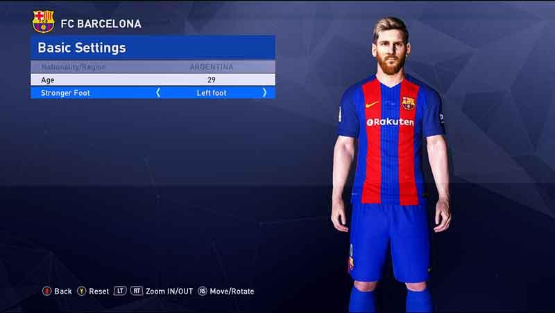 کیت جدید تیم بارسلونا برای pes 2017