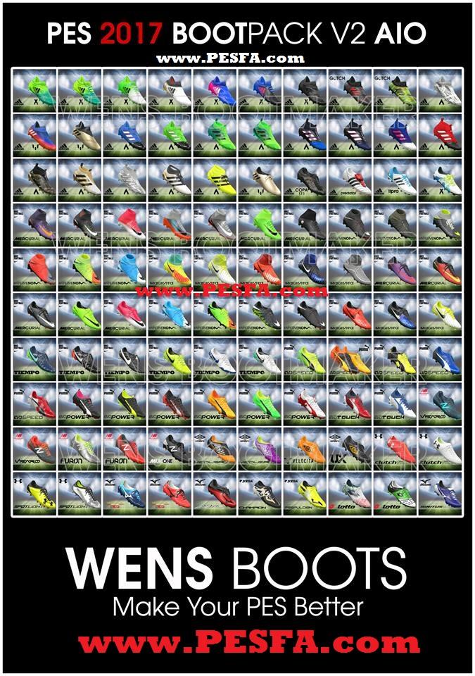 پک کفش 100 تایی Full HD توسط Wens برای PES 2017
