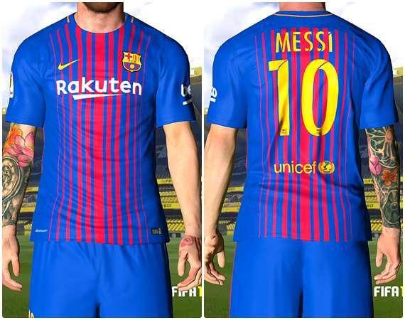 کیت فصل 17/2018 بارسلونا برای pes 2017