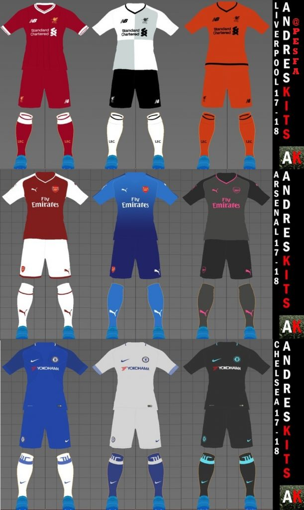 کیت پک Chelsea , Liverpool , Arsenal 2017/18 برای PES 2017