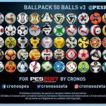 پک توپ 50 تایی ورژن 3 توسط Cronos برای PES 2017