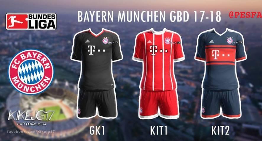 کیت پک Bayern Munchen 2017/18 برای PES 2013