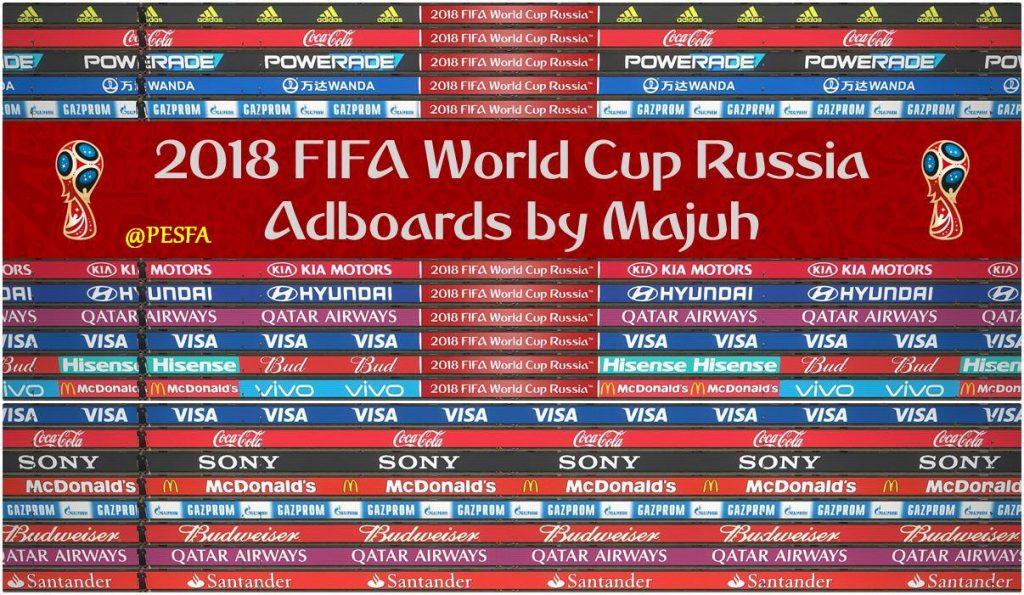 پک تابلو تبلیغاتی جام جهانی روسیه v1.0 توسط majuh برای PES 2018