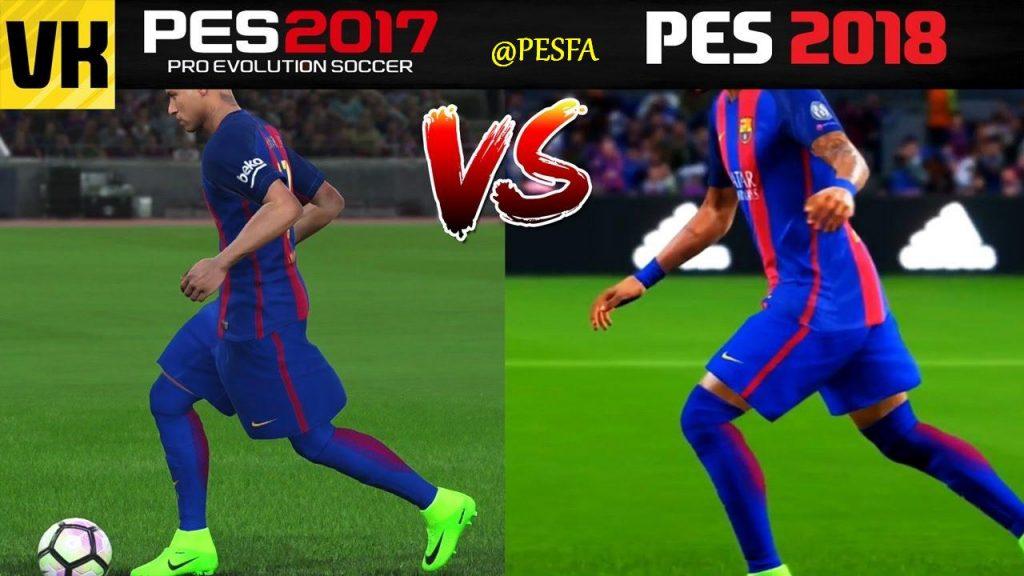 ویدیو مقایسه گرافیک PES 2017 و PES 2018