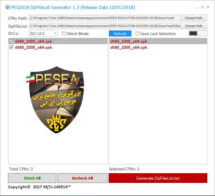 نرم افزار DpFileList Generator V1.3 توسط MJTS برای PES 2018