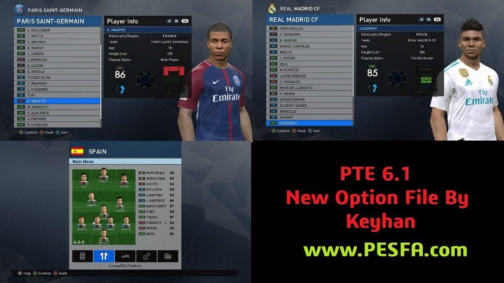 آپشن فایل جدید توسط Keyhan برای پچ PES 2017 PTE 6.1