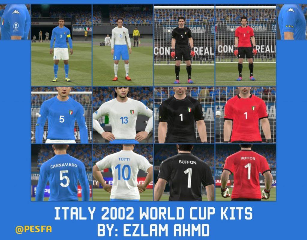 کیت پک جام جهانی 2002 ایتالیا توسط EzLam Ahmd برای PES 2017