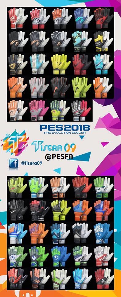 پک دستکش v2 توسط Tisera09 برای PES 2018