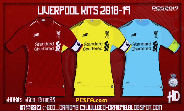 کیت پک Liverpool 2018-19 توسط Geo-Craig90 برای PES 2017