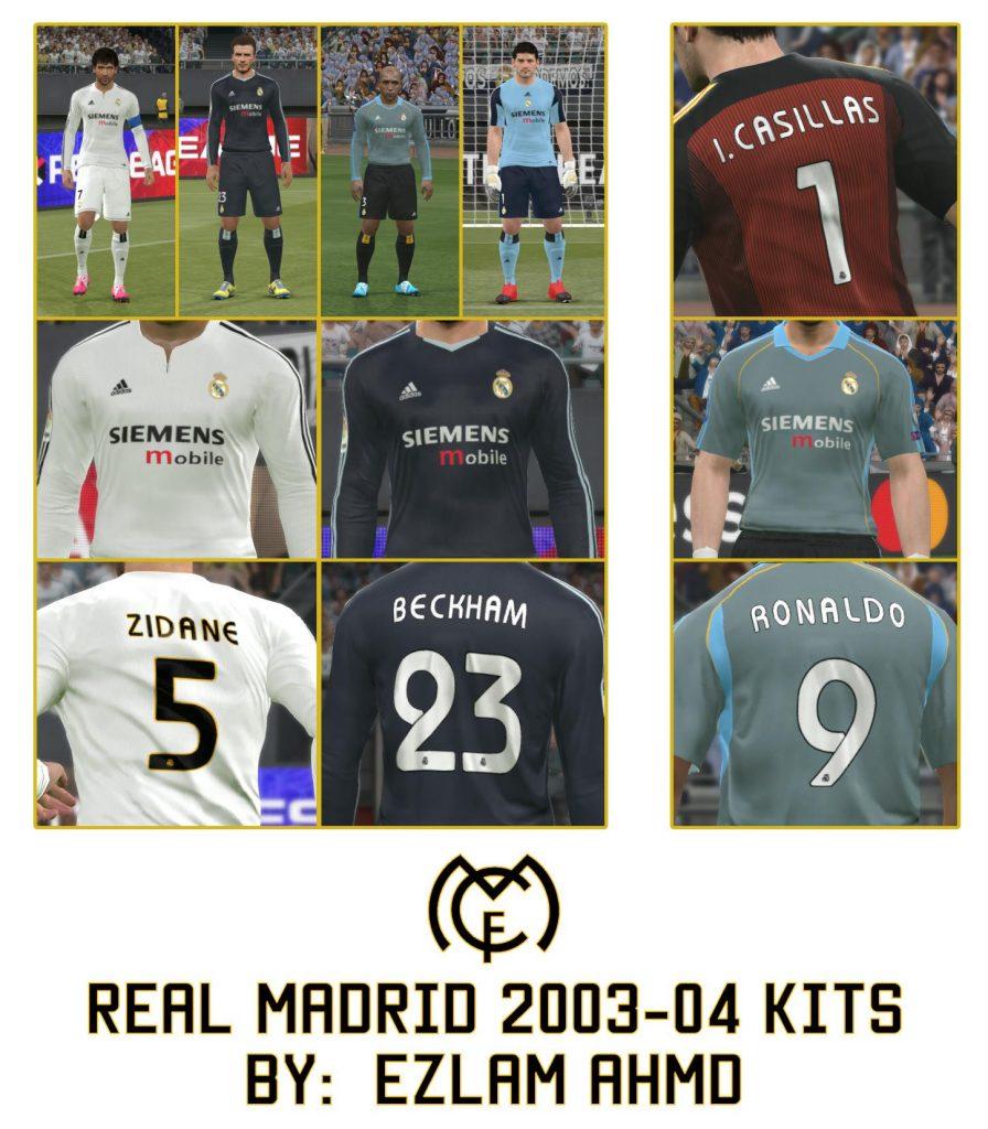 کیت پک Real Madrid 2003-04 توسط EzLam Ahmd برای PES 2017