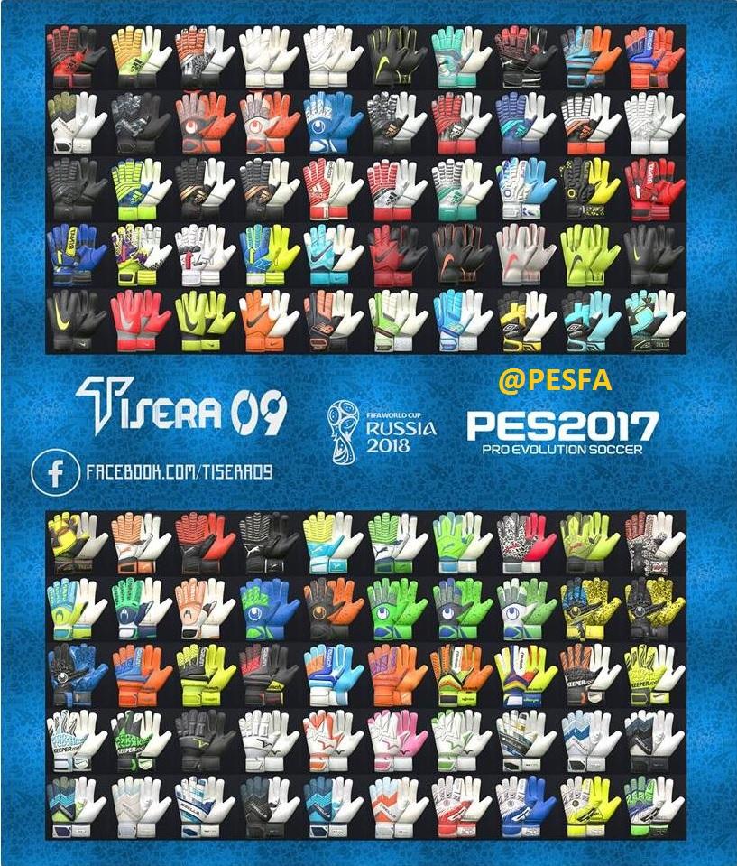 پک دستکش v7 توسط Tisera09 برای PES 2017