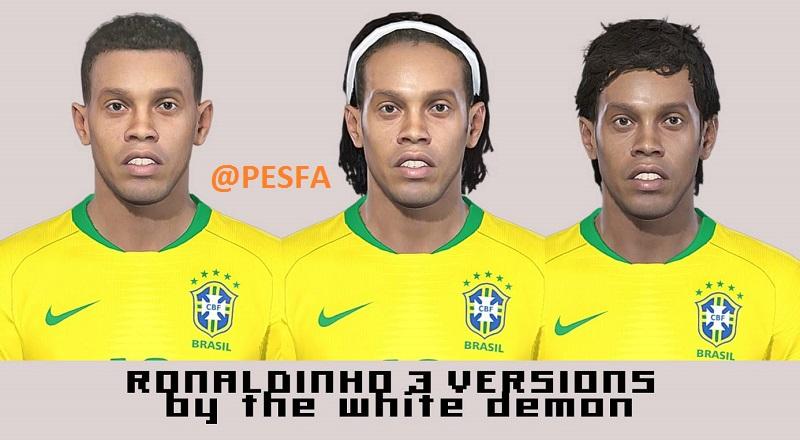 فیس پک Ronaldinho توسط White Demon برای PES 2018
