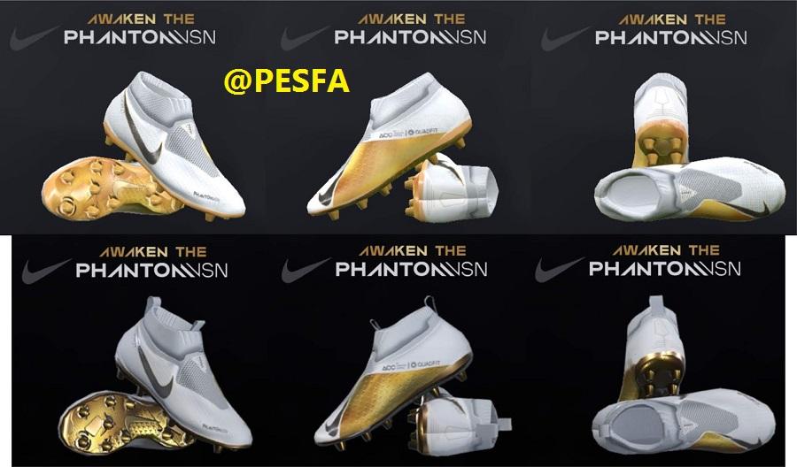کفش Nike Phantom vision Gold/white توسط T09 برای PES 2017/18