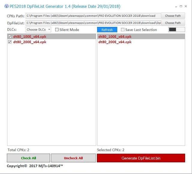 نرم افزار DpFileList Generator V1 4 توسط MJTS برای PES 2018